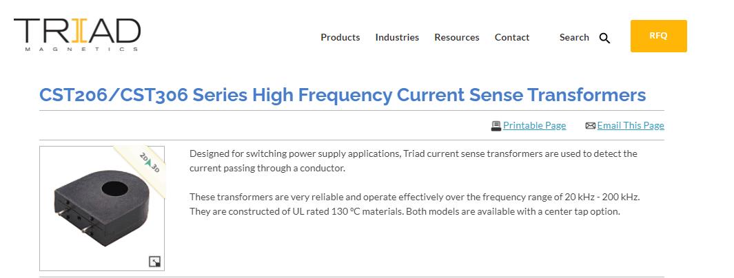 CST206 / CST306シリーズ高周波電流検出トランス