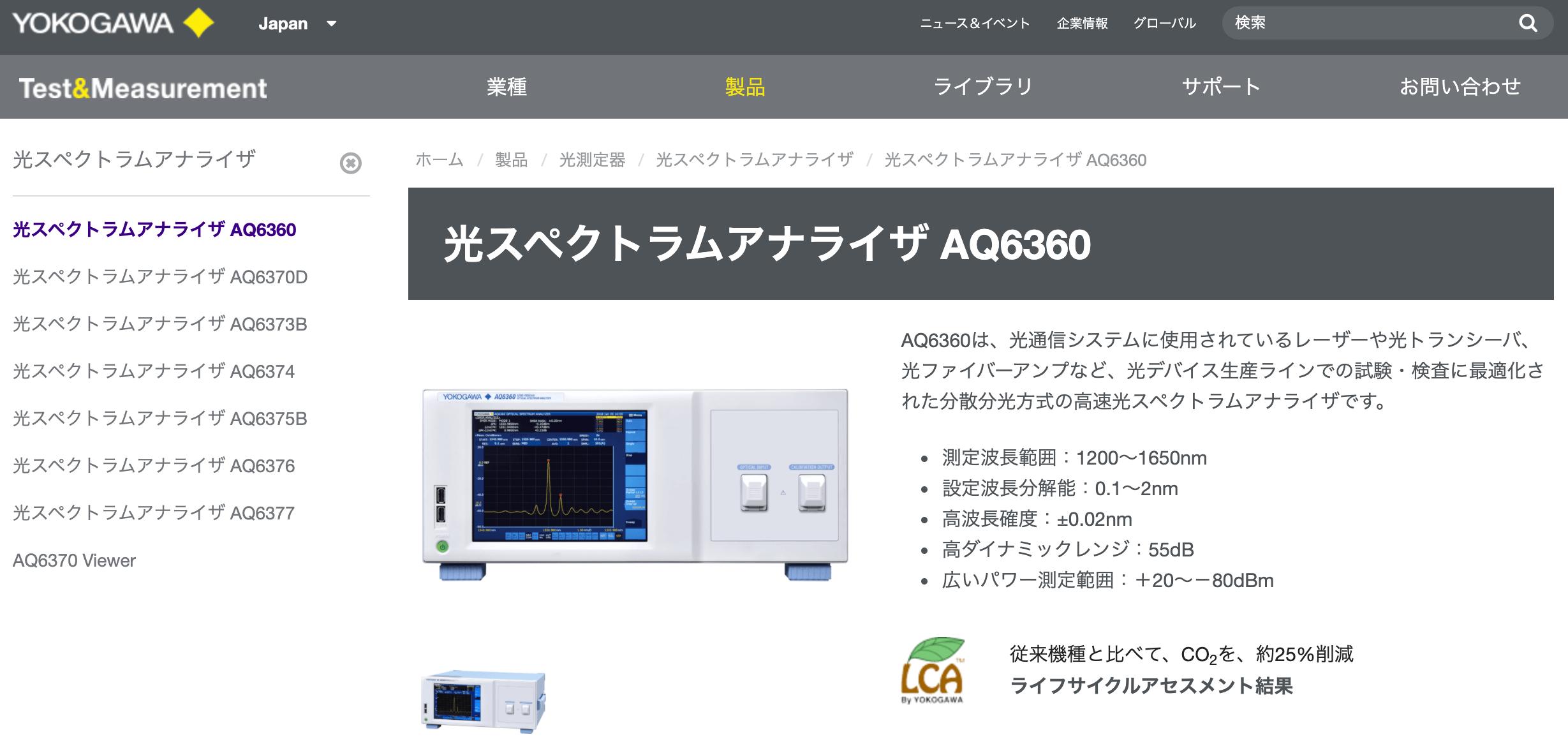 光スペクトラムアナライザ AQ6360