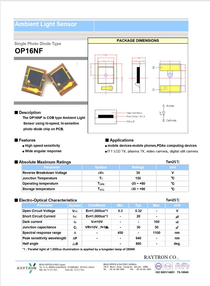 照度センサー OP16NF