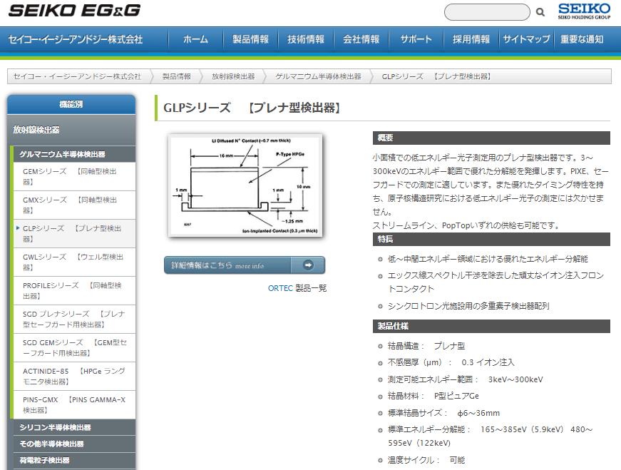 ゲルマニウム半導体検出器 GLPシリーズ 【プレナ型検出器】