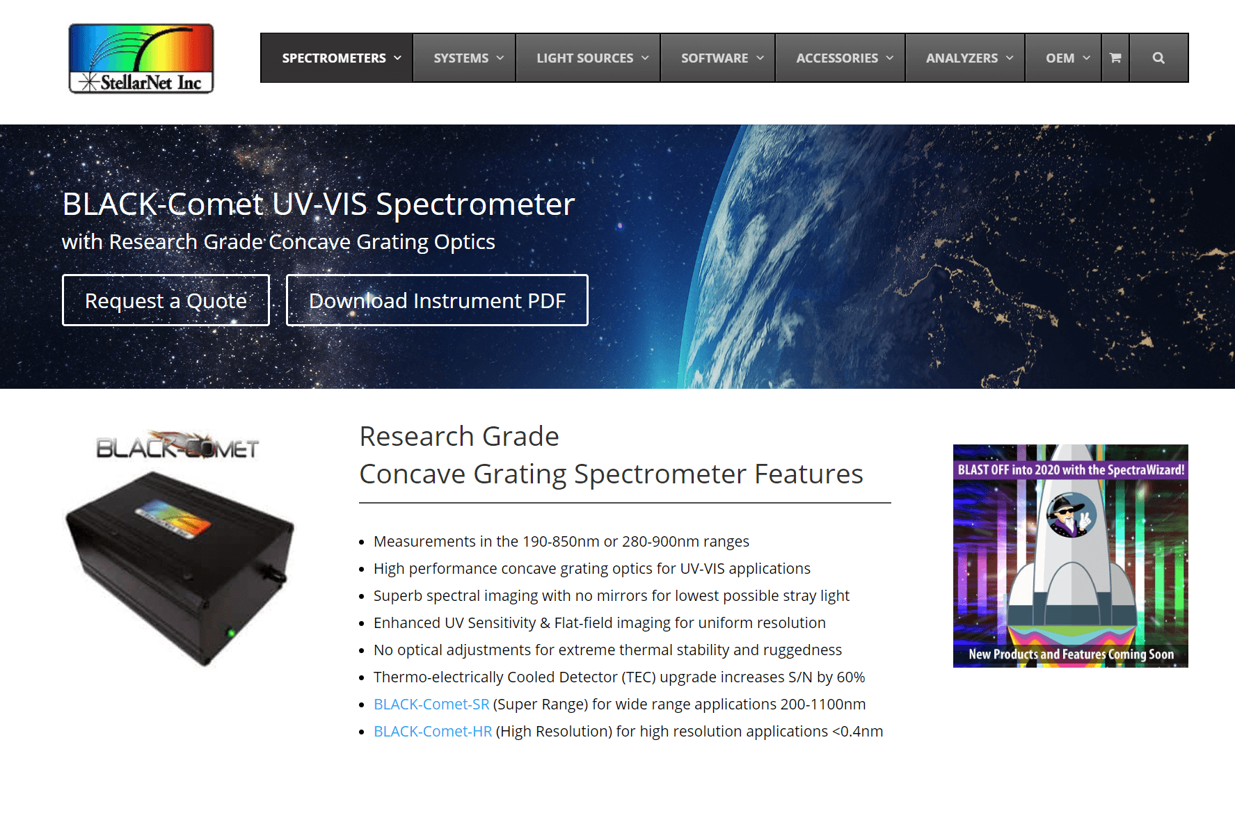 Black-Comet UV-VIS Spectrometer