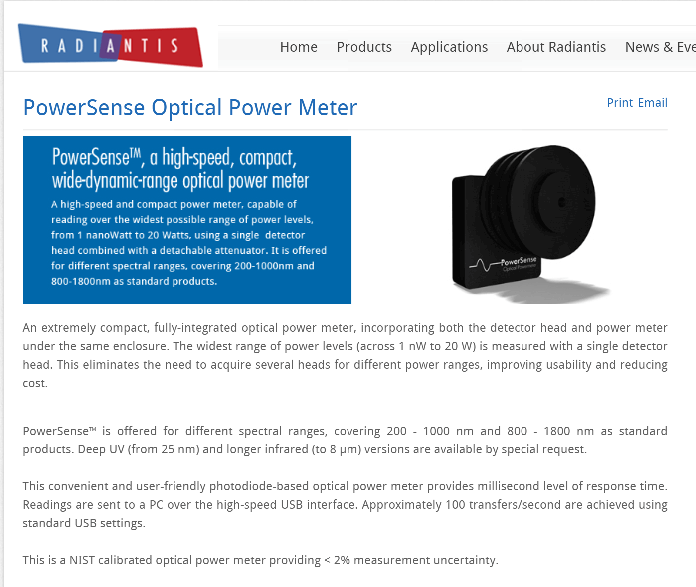 PowerSense Optical Power Meter