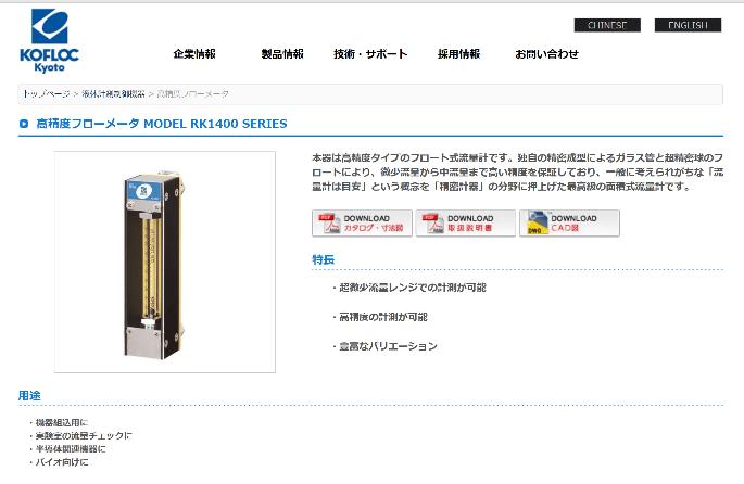 高精度フローメータ MODEL RK1400 SERIES