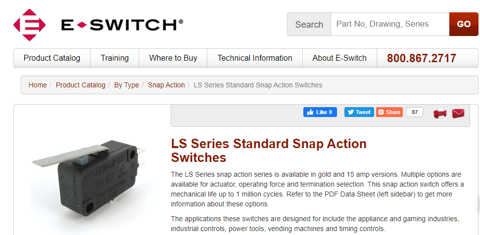 LS Series Standard Snap Action Switches